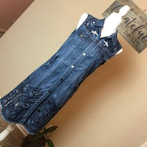 💜ADORE Sleeveless Denim Embroidered Dress Size: S